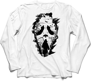 lepni.me Camiseta de Manga Larga para Hombre Grito de la Parca Tribal - Muerte Espeluznante aterradora: Amazon.es: Ropa y accesorios