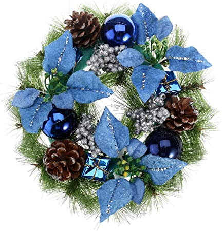 Pretyzoom Couronne De Noel En Pomme De Pin Avec Poinsettia Boules De Noel Bleu Guirlande De Porte Suspension Noel Vert 30cm Bleu