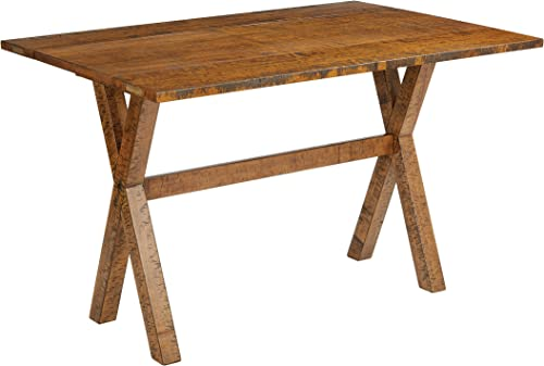 Office Star McKayla Solid Wood and Veneer Flip Top Table, Distressed Brown Finish