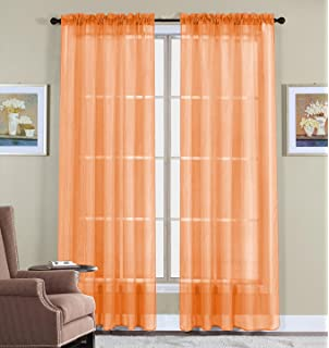 Amazon.com: Elegant Comfort 2-Piece SHEER PANEL with 2inch ROD ...