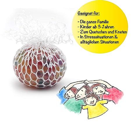 f/ür Kinder und Erwachsene 5 cm Durchmesser L+H 12x Anti-Stress-Ball Quetschball Regenbogen Rainbow Knetball Knautschball im Netz f/ür Das B/üro oder Kindergeburtstag hochwertig verarbeitet