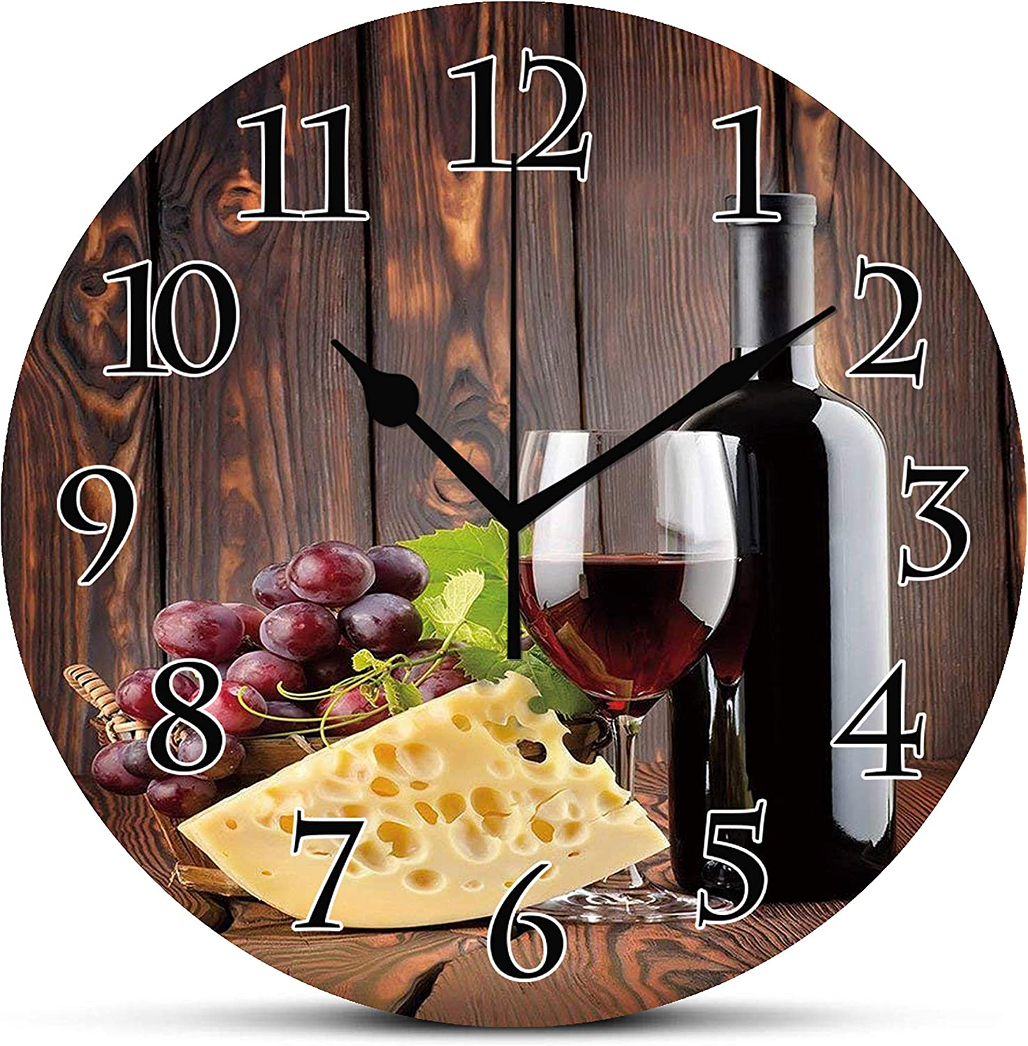 Silent Wall Clock,Wine,Red Wine Cabernet Bottle and Glass Cheese and Grapes on Wood Planks Print Decorative,Brown Burgundy Cream Non Ticking Wall Clock/Desk Clock for Office Home Decor 10 inch