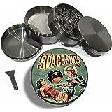 "Space Sluts 4 Piece Herb Grinder Zinc Titanium Metal Grinders 2.5"" sexy Pulp Fiction Vintage Pinup Green Diamond Grind - Gift Box"