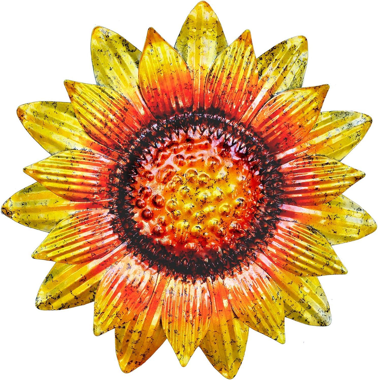 GIFTME 5 Metal Sunflower Wall Art Decor Christmas Ornament,11.5 Inch Gold,1PCS