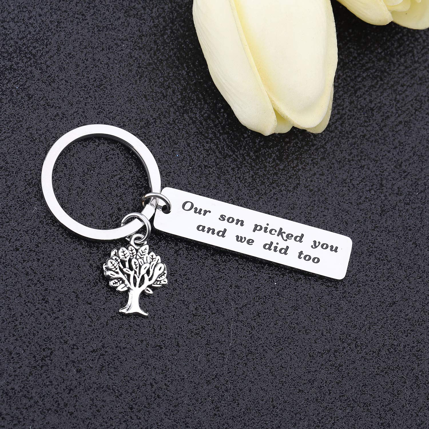 bobauna Daughter in Law Keychain Our Son Picked You and We Did Too Wedding Jewelry Bridal Shower Gift