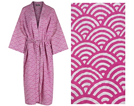 Image Unavailable. Image not available for. Colour  KIMONO Robe Women s  Cotton Dressing Gown   Lightweight ... 33c03387f