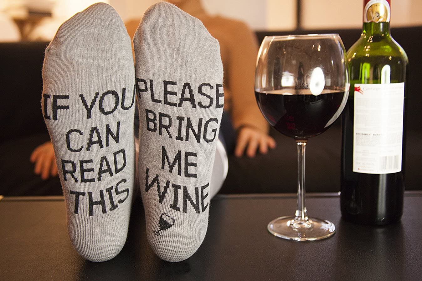 The Bring Me Wine​ socks - 22 Unusual 1st Anniversary Gift Ideas - TodayWeDate.com