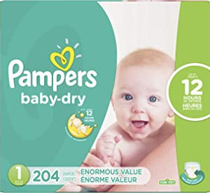 Diapers Size 1, 204 Count - Pampers Baby Dry Disposable Baby Diapers, Enormous Pack