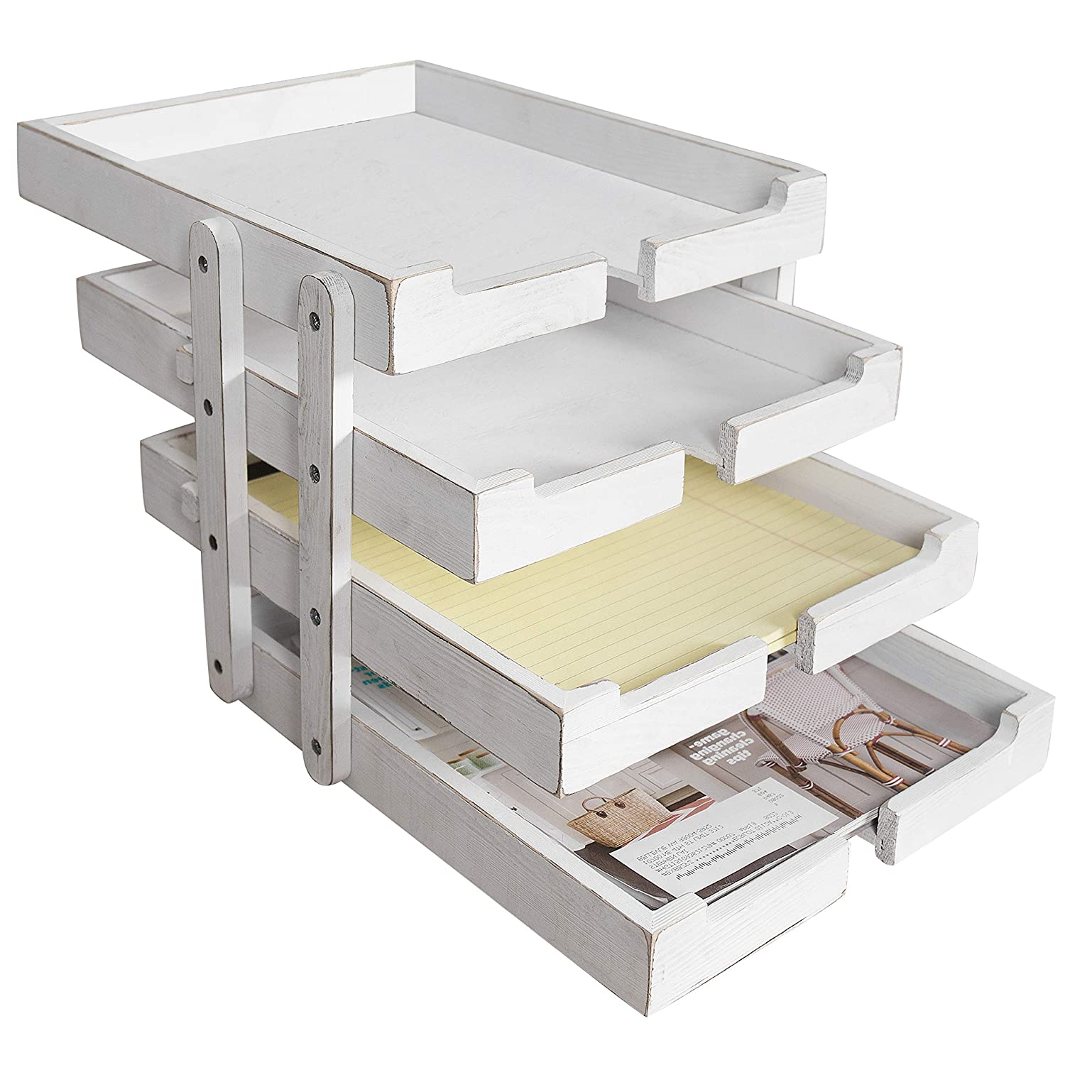 MyGift 4-Tier Collapsible & Expandable Vintage White Wood Document Tray