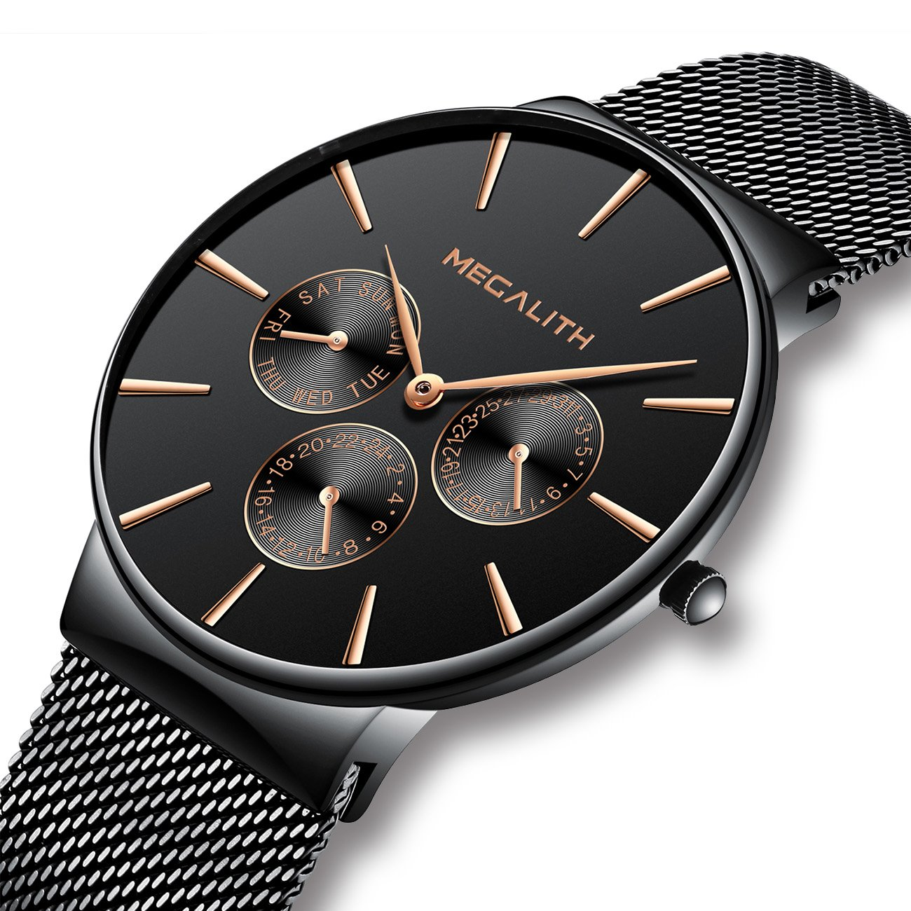 f7e6f9a9b65 Mens Watches Men Waterproof Sport Luxury Thin Black Stainless Steel Mesh  Wrist Watch Business Fashion Dress Day Date Analogue Watches for Men   Amazon.co.uk  ...