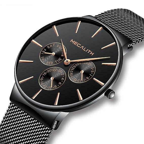 Relojes Hombre Negro Relojes de Hombre Lujo Moda Impermeable Fecha Calendario Diseño Simple Analogicos Cuarzo Relojes de Pulsera de Malla de Acero ...