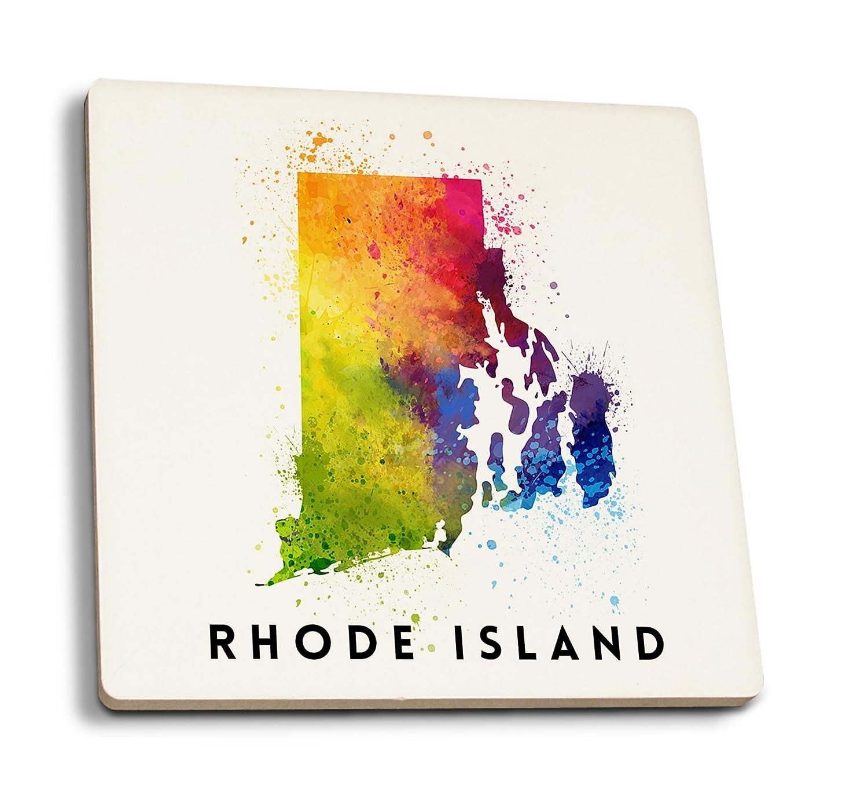 ロードアイランド州 - 水彩画。 4 Coaster Set LANT-77286-CT 4 Coaster Set  B07DD3YSL2