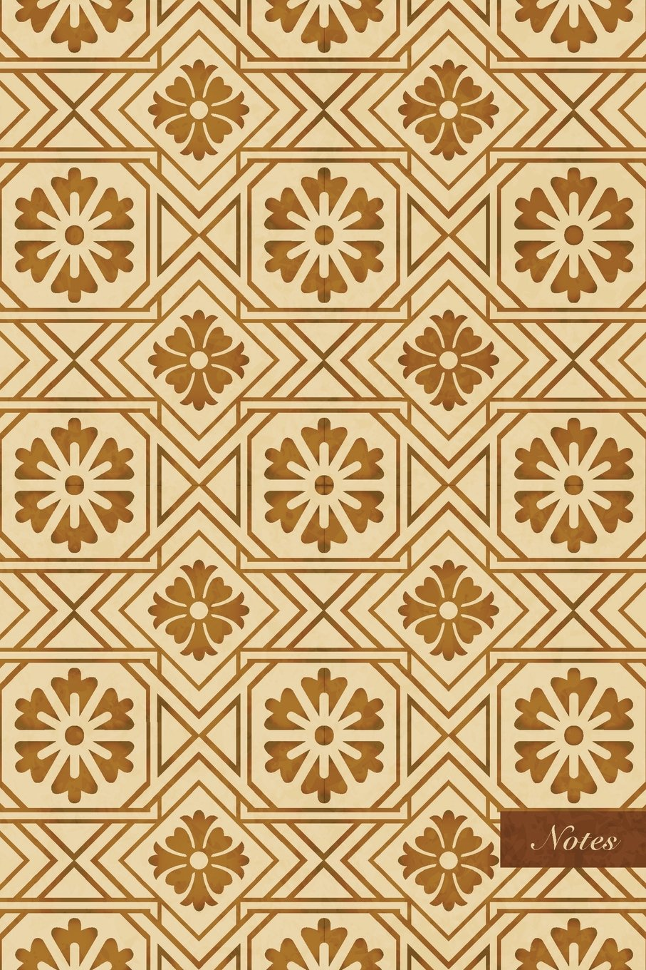 "Download Notes: 6""x9"" Unruled Blank Notebook - Square Check Cross Geometry Frame Chain Line Flower - Retro Brown Worn Out Vintage Seamless Pattern Cover. Matte Softcover And Cream Interior Papers. pdf epub"