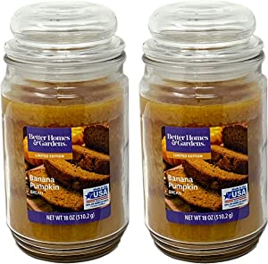 Better Homes and Gardens 18oz Scented Candle, Banana Pumpkin Bread 2-Pack