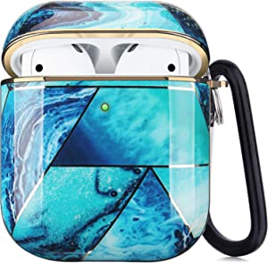 iQouda Airpods Case, Stylish Airpods Protective Case Dustproof Shockproof Eco-Friendly Cute Airpods Case Cover for Apple Airpods 2 & 1 for Girls Men with Carabiner (Electroplating Blue)