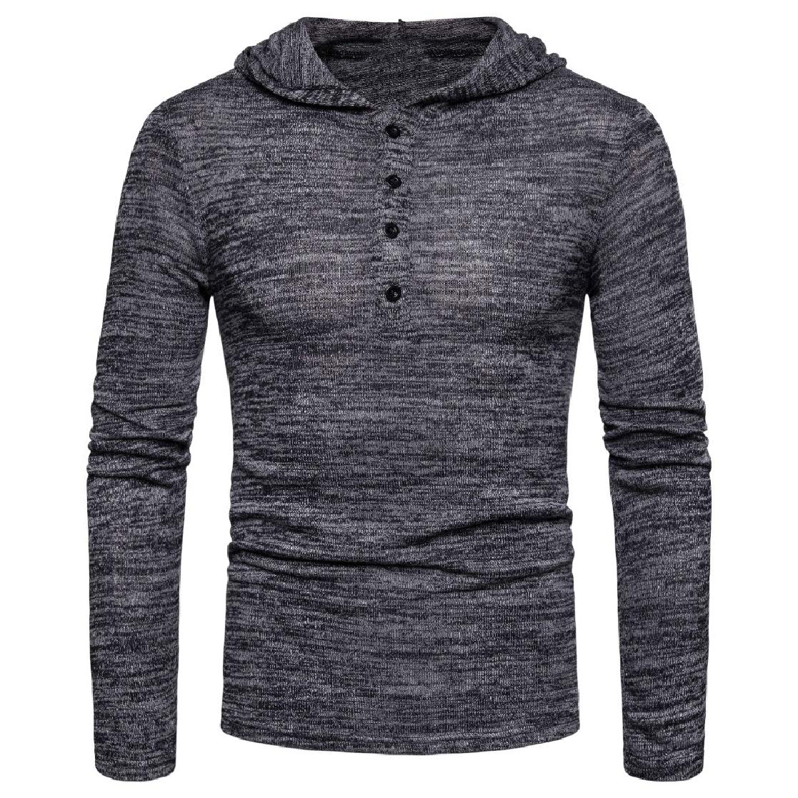 YUNY Mens Hooded Pure Long-Sleeve T-Shirts Pullover Casual Sweatshirts AS1 M