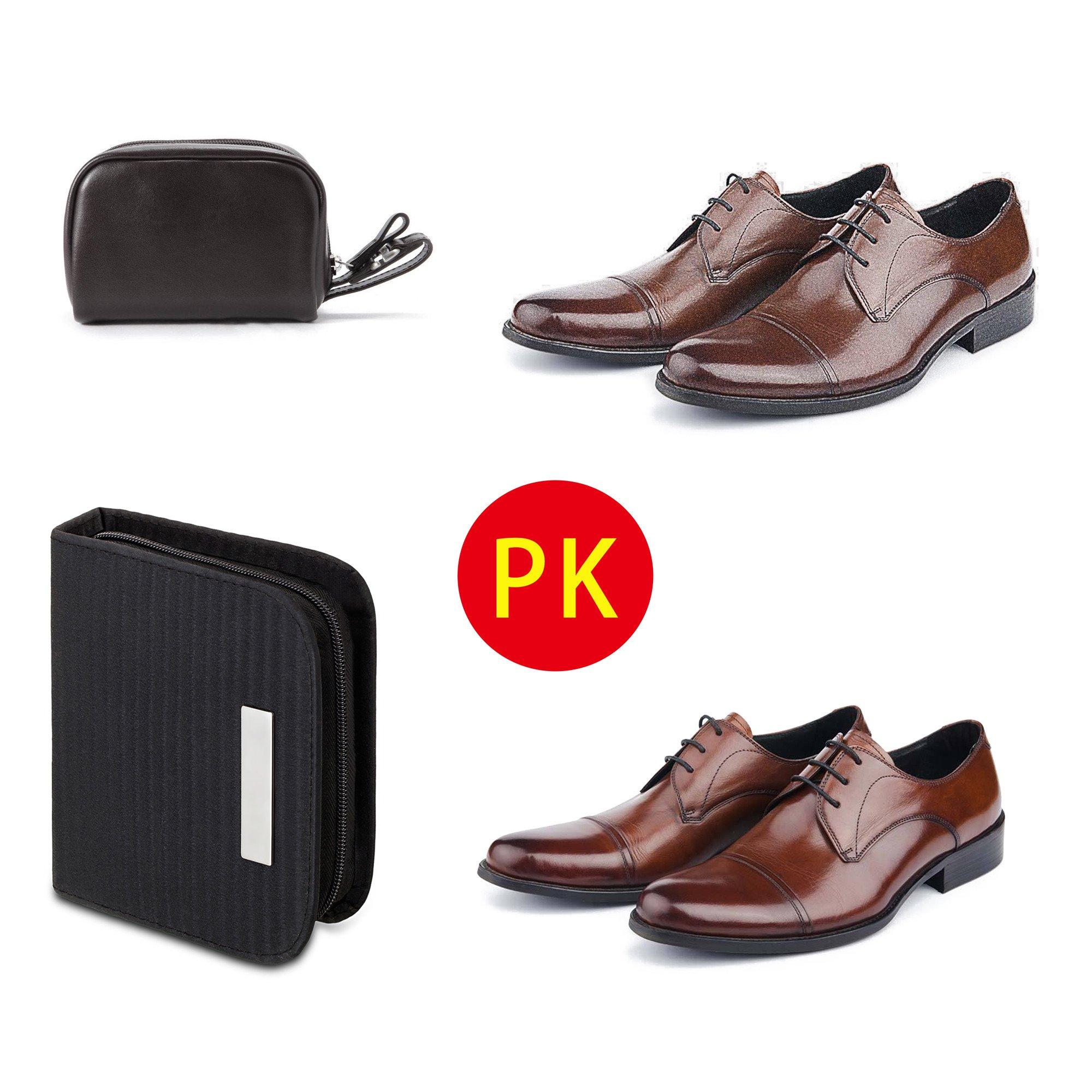 chuanyuekeji Shoe Shine Kit & Shoe Care Valet with PU Leather Sleek Elegant Case, 7-Piece Travel Shoe Shine Brush kit (Black) by chuanyuekeji (Image #7)