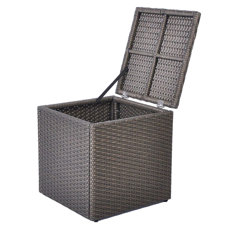 Garden Storage Box, Outdoor Rattan Wicker Deck Storage Container Bench, 21 Gallon, Anti Rust Aluminum Frame (17.7'' 17.72'' 17.72'', Espresso) ATR