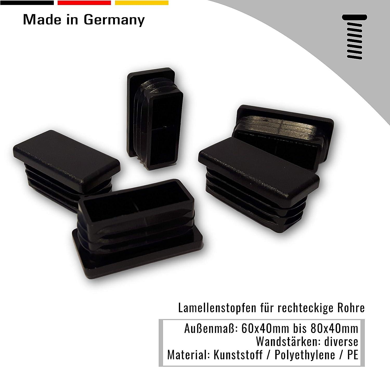 OL 4 Stopfen,schwarz f/ür Rechteckige Rohre Aussenma/ß 70x25mm