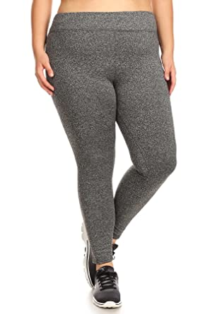 684600ef524f6e Womens Plus Size Yoga Leggings Pants Solid Sports Bottoms Solid Polybrushed  Charcoal 1X