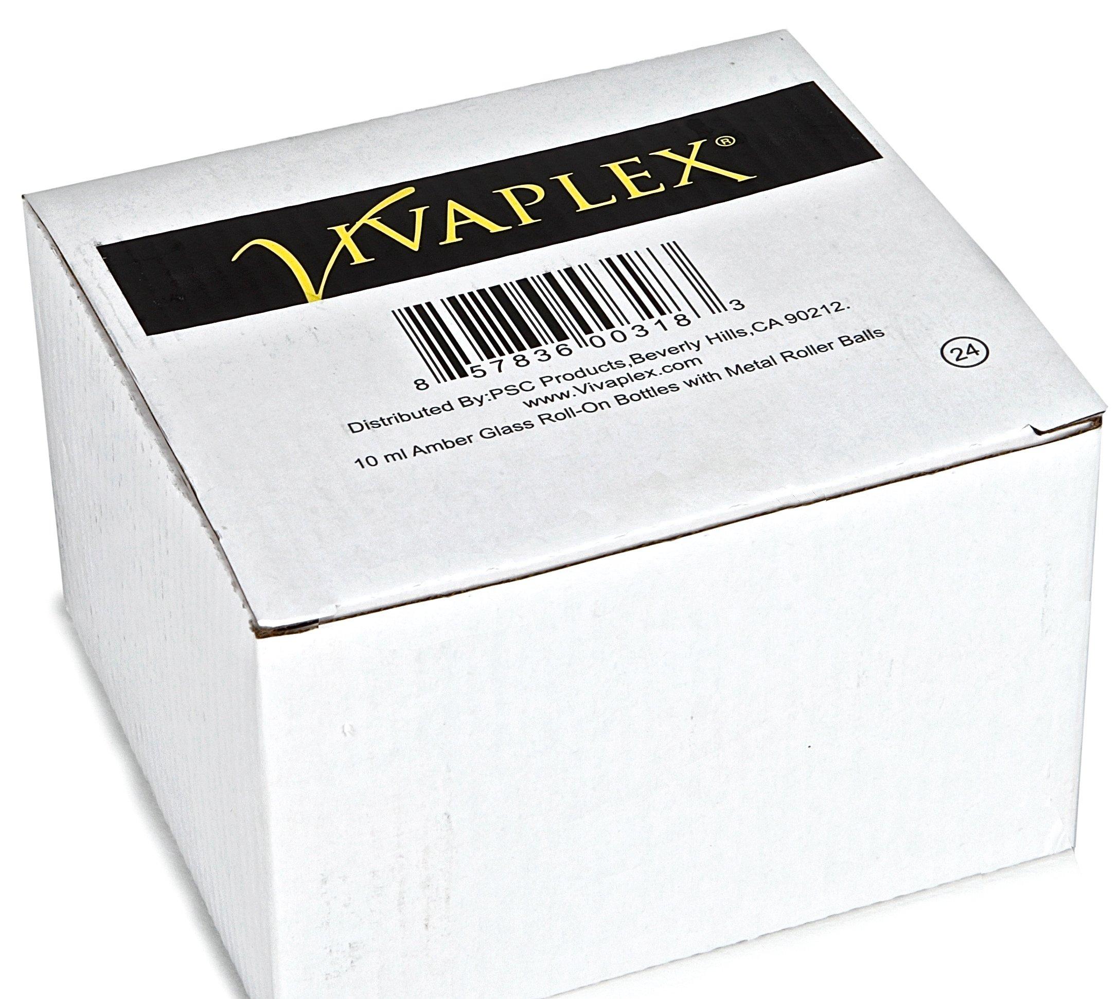 Vivaplex, 24, Amber, 10 ml Glass Roll-on Bottles with Stainless Steel Roller Balls. 3 - 3 ml Droppers included by Vivaplex (Image #2)