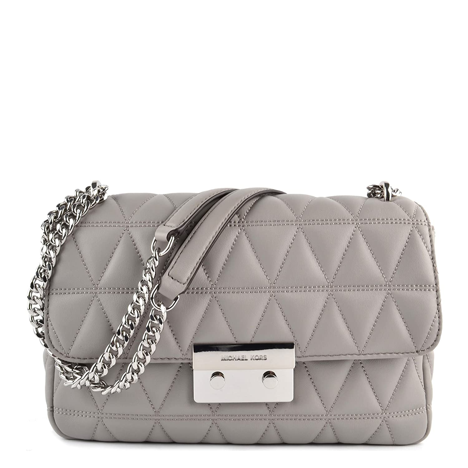 739c213e91371 MICHAEL Michael Kors Sloan Large Quilted-Leather Shoulder Bag in Pearl Grey   Handbags  Amazon.com