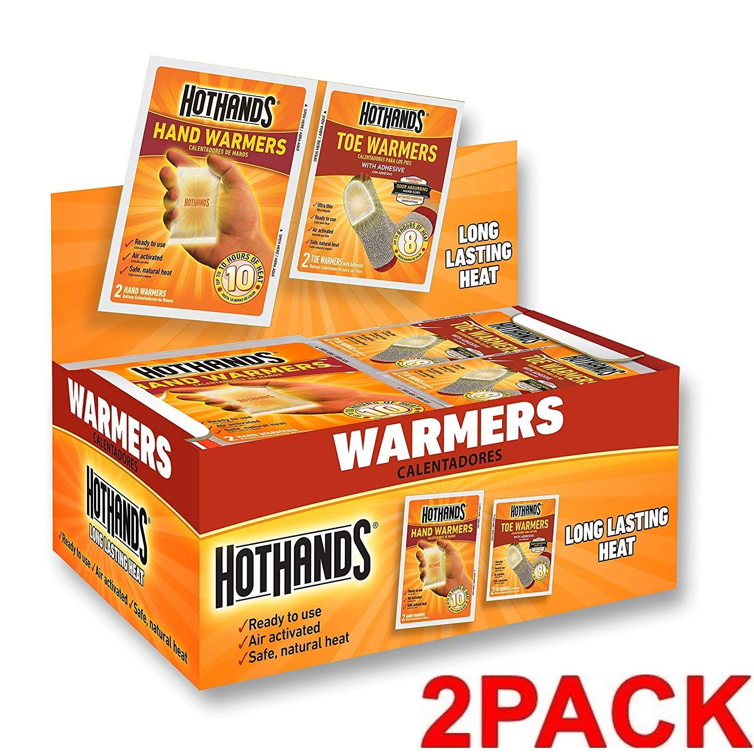HotHands Hand & Toe Warmers - Long Lasting Safe Natural Odorless Air Activated Warmers - 24 Pair of Hand Warmers & 8 Pair of Toe Warmers (2 Pack) by HotHands