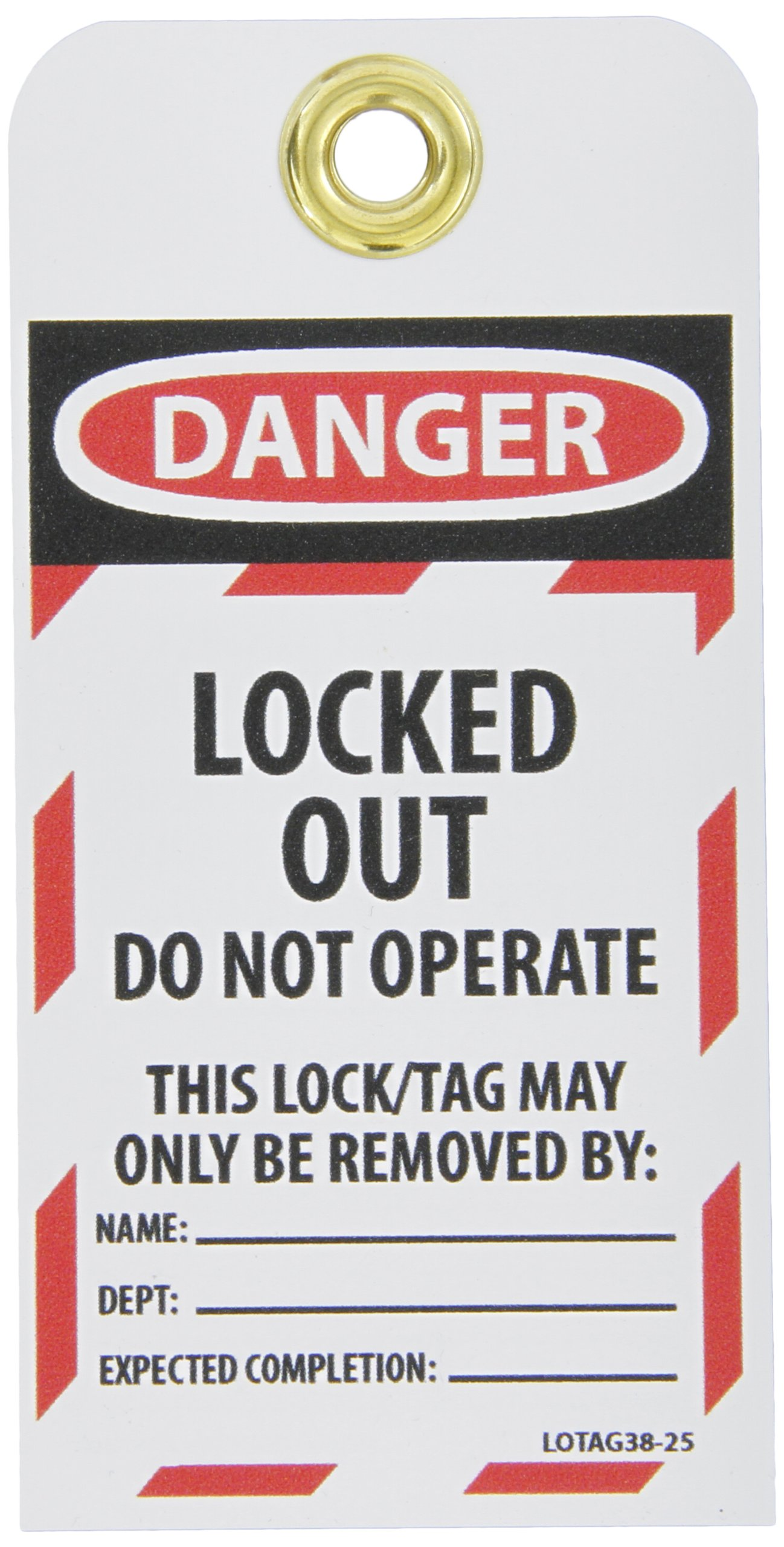 NMC LOTAG38-25''Danger - Locked Out DO NOT Operate'' Lockout Tag, Unrippable Vinyl, 3'' Length, 6'' Height, Black/Red on White (Pack of 25) by NMC
