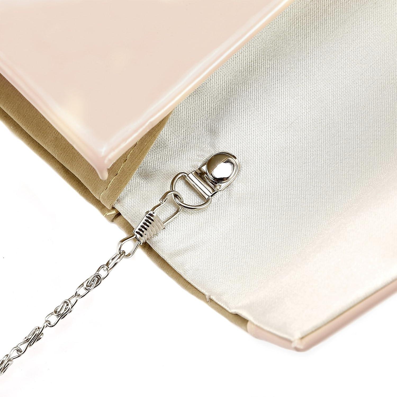 Anladia Contrast Color Faux Leather Trim Velvet Clutch Structured Chain Shoulder Handbag: Handbags: Amazon.com