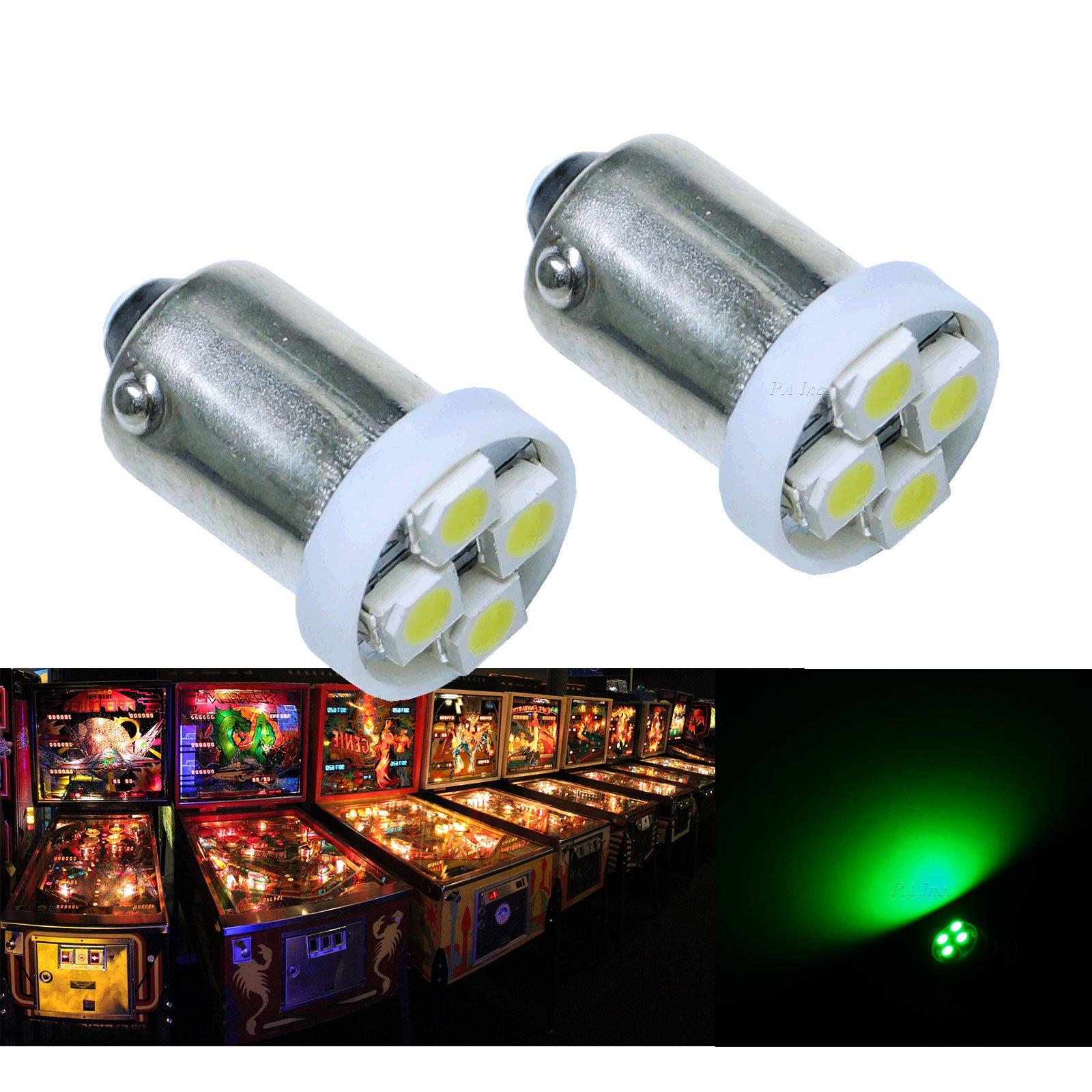 PA® 10PCS #1893 #44 #47 #756 #1847 BA9S 4SMD LED Wedge Pinball Machine Light Bulb Green-6.3V