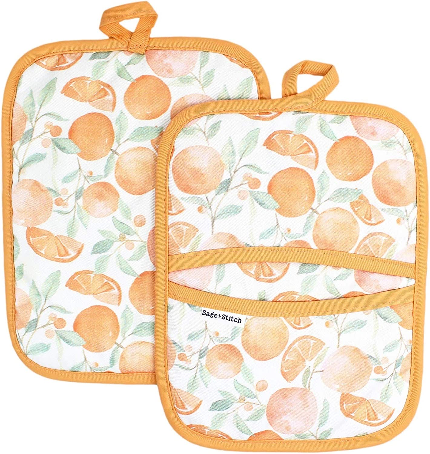 Sage and Stitch Kitchen Pot Holders for Women 7'' x 9'' with Hand Pockets and Hanging Loop, Dual Function Oven Mitt Trivet Potholder Hot Pad 100% Cotton, Heat Resistant Set of 2 - Oranges