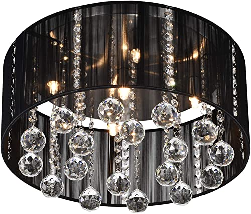 Jojospring 5-light Satin Nickel and Clear Crystal Ceiling Lamp