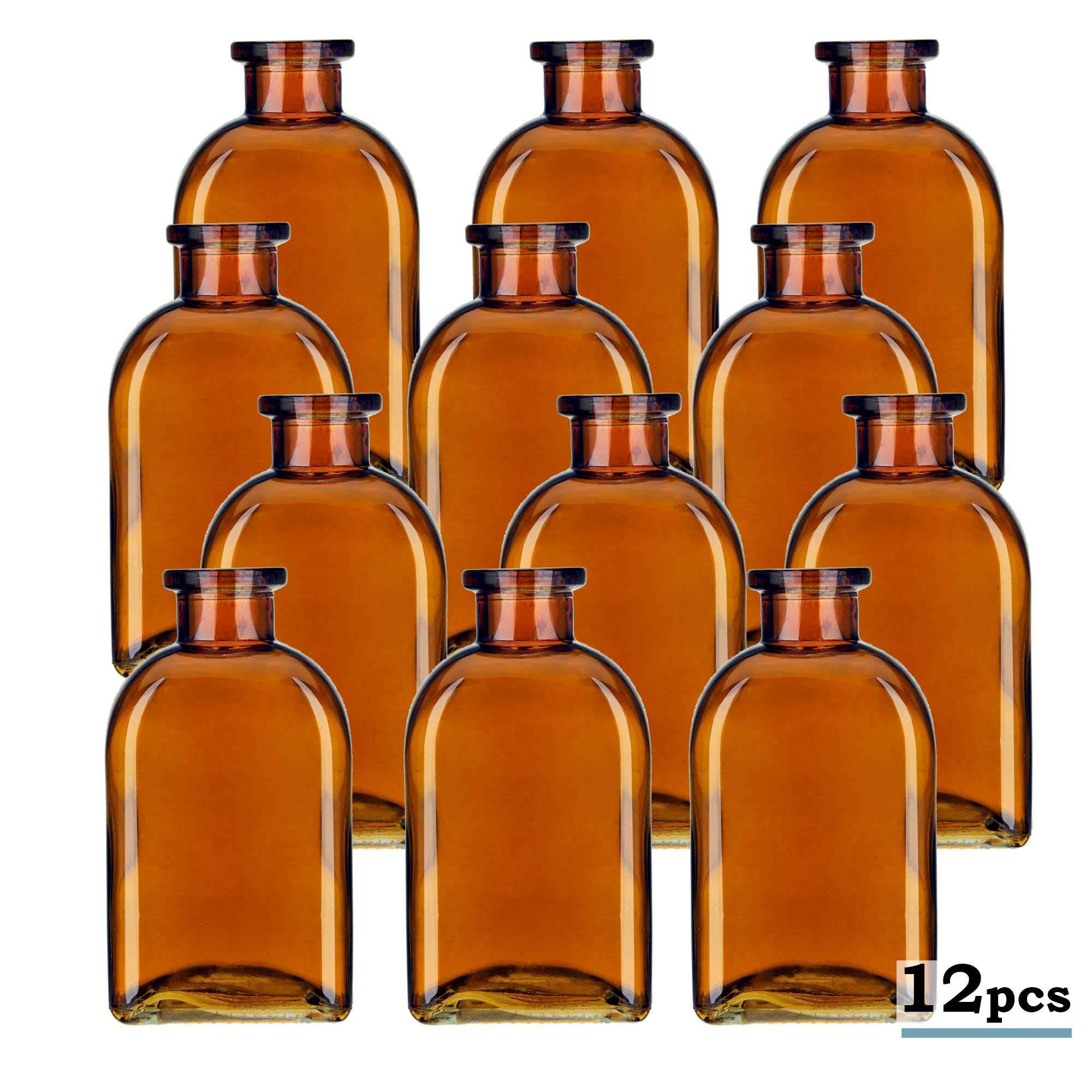 Glassnow C6054G48-N 12 Piece 8.5 oz Roma Glass Bottle Without Cork, Dark Amber