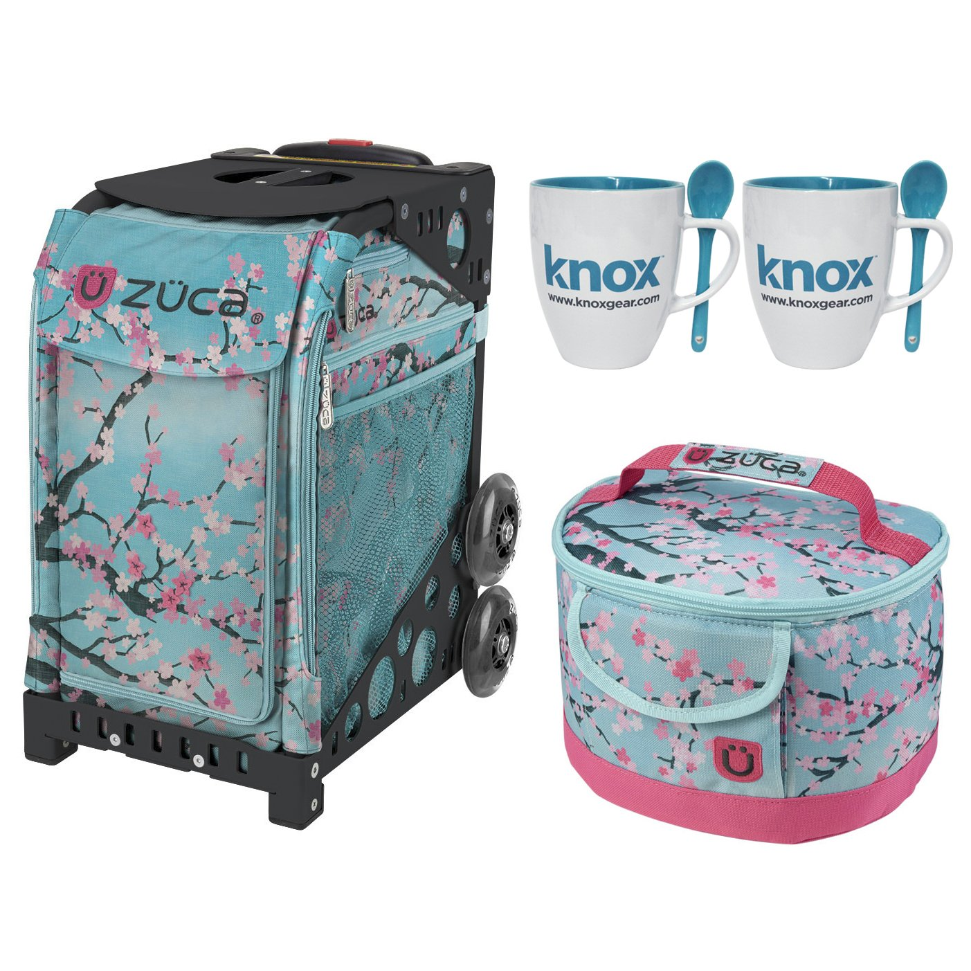 Zuca Hanami Sport Insert Bag with Zuca Frame, Matching Lunch box and 2 Coffee Mugs (Black Frame)