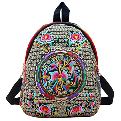 a10e6fb5e8ad Amazon.com  Women Vintage Flower Ethnic Embroidered Backpack Handmade  Colorful Small Mini Travel Shoulder Bag Mochila  Home Improvement