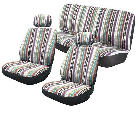 Unique Imports Baja Inca Saddle Blanket Premium Seat Cover Set Front And Rear Headrests