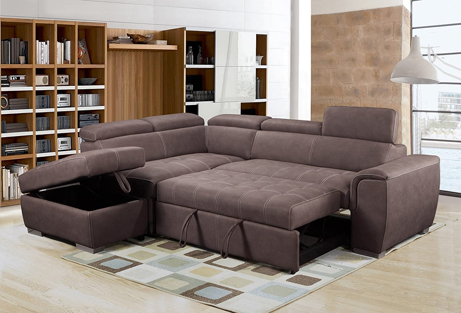 Rienzo Large Brown Fabric Suede Corner Sofa Bed With Tilting Headrest And  Storage Ottoman (Left Hand Facing)