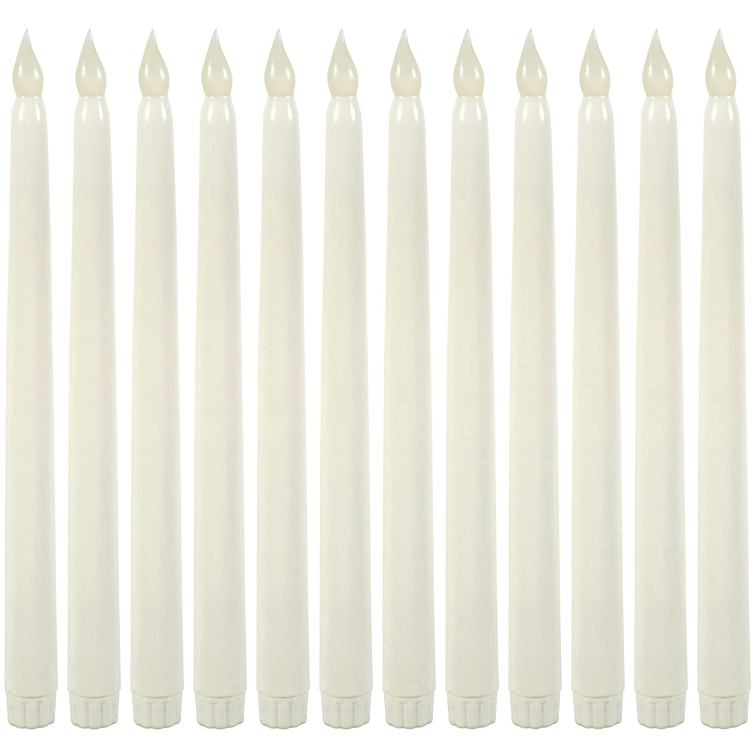 WYZworks 11 Ivory Taper Flameless LED Faux Wax Candle 12PK