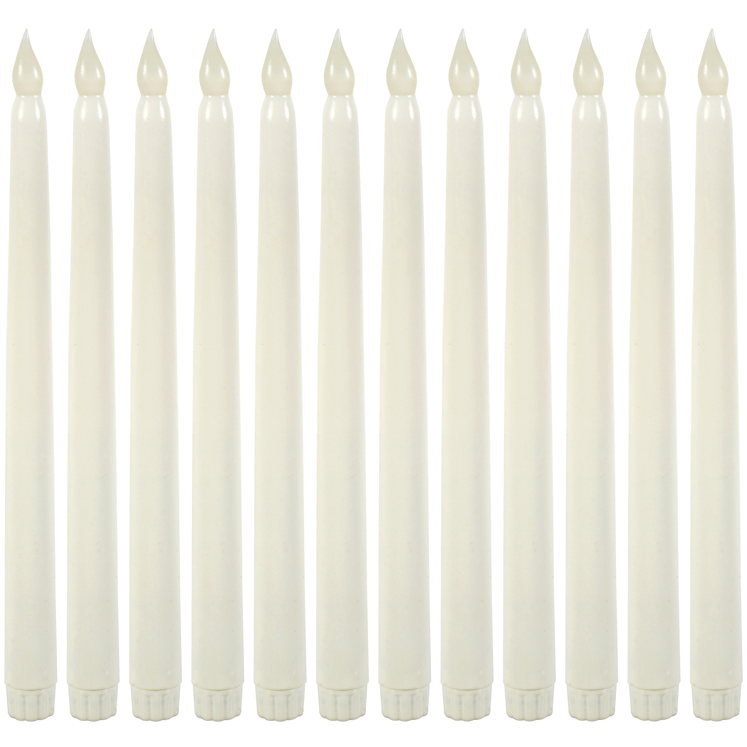 WYZworks 11'' Ivory Taper Flameless LED Faux Wax Candle 12PK