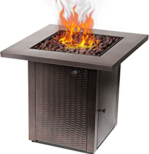 hykolity 28 inch Gas Fire Pit Table, Square Fire Table with Lid, Lava Rock, 50,000 BTU Adjustable Flame Auto-Ignition Fire Bowl Outdoor Companion Fireplace for Balcony/Garden/Patio/Courtyard