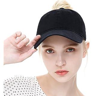 f9db7a96b ELLEWIN Ponytail Baseball Cap Plain Cotton Messy High Bun Hat for Women and  Men
