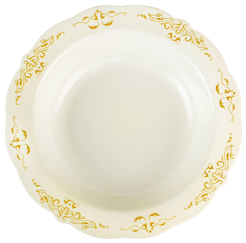 Fineline 10 oz Heritage Bowls (Case of 120) (10 x 12), Bone/Gold