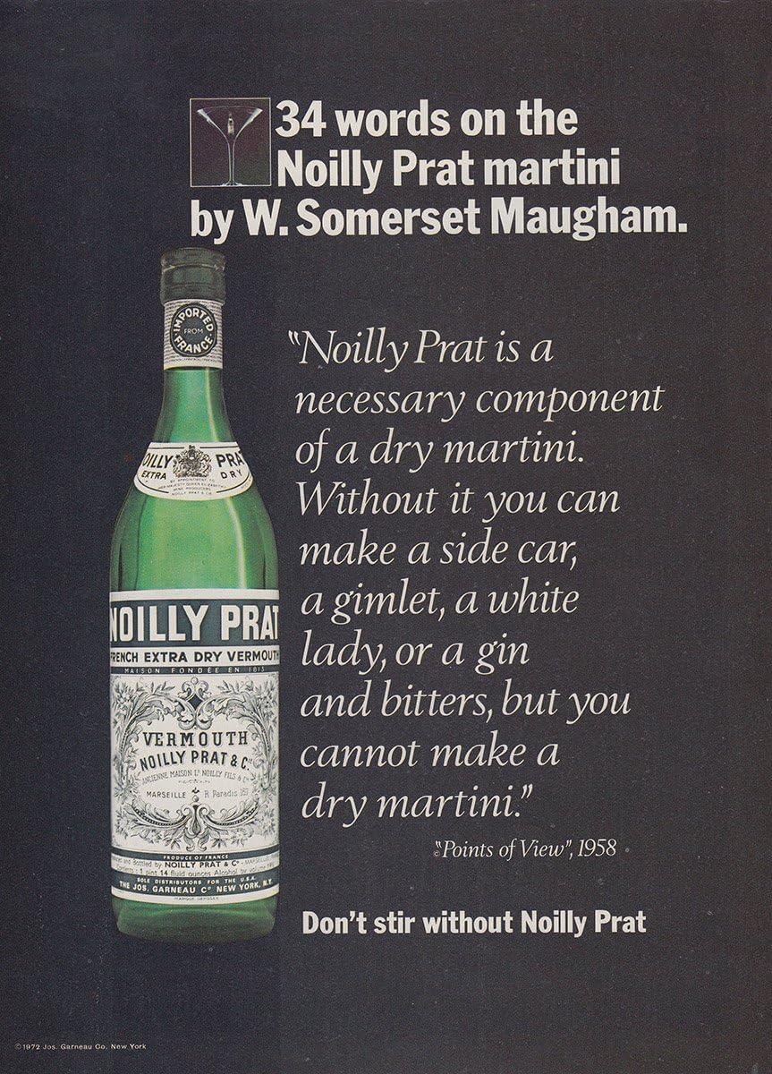 1973 Noilly Prat: 34 Words, W Somerset Maugham, Noilly Prat Print Ad