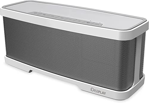 iDeaUSA Wireless 2.1 Channel Bluetooth Speaker with Stereo 2x 5W Drivers Dual Passive Radiators and 1x 10W Subwoofer, 2 Mode Equalizers, Portable with Built-in Microphone – Silver