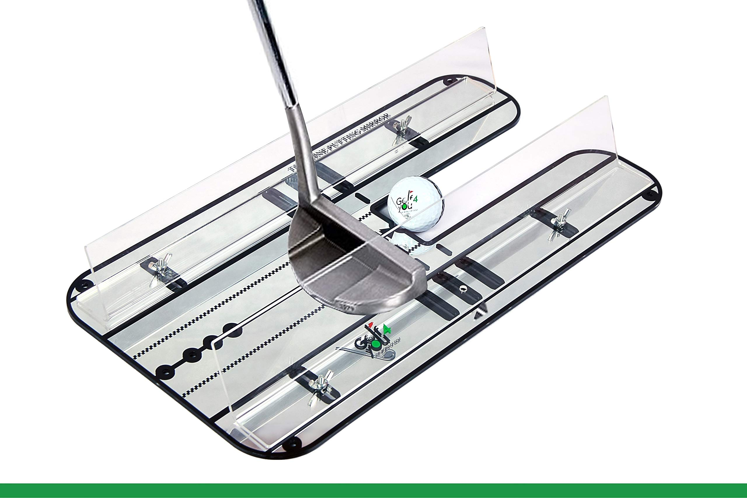 Golf Training Aid, Putting Set - XL Alignment Mirror Design with Our Exclusive Clear Adjustable Guide Rails ''True Line Putting Mirror'' - Leading Practice Aid for On-Line, Consistent Putting Stroke
