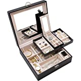 ProCase Jewelry Box Organizer, Large Capacity Portable Travel Jewelry Case 2 Layer Jewelry Display Versatile Storage Case with Mirror and Lock for Jewelry and Watches -Black