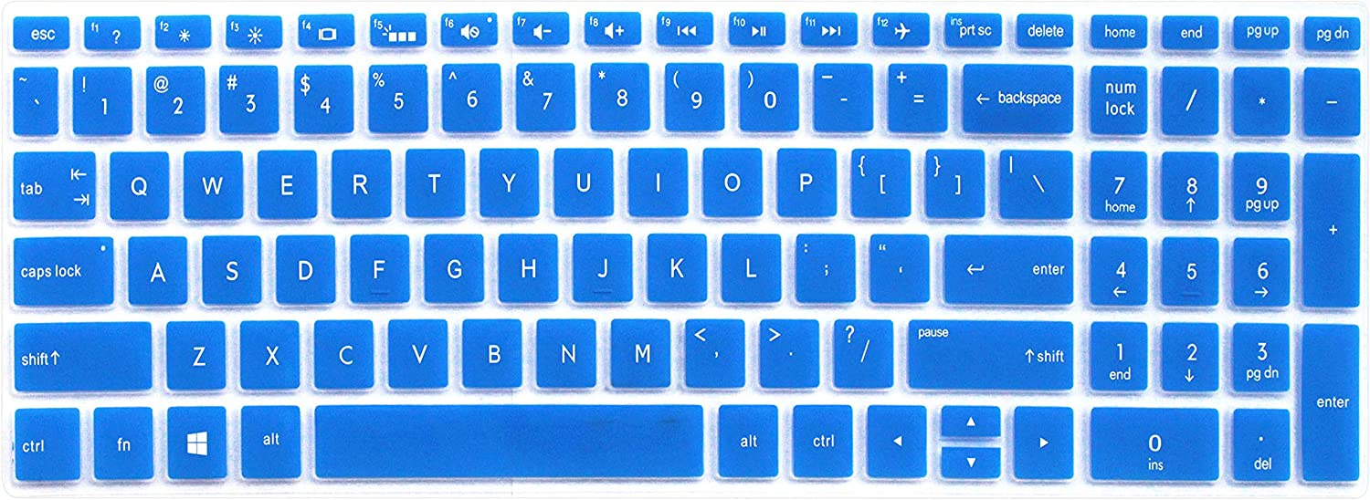 "Ultra Thin Silicone Keyboard Cover for 15.6"" HP Pavilion X360 15-BR, Pavilion 15-CC 15-CD 15-CB 15-BS 15-BW 15m-bp 17-BS 17M-AE 17-BS 17-BW Series Laptop (Blue)"