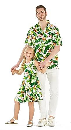c44b3452 Matching Father Daughter Hawaiian Dance Shirt Vintage Dress Bird of Paradise  White Men S Girl 10