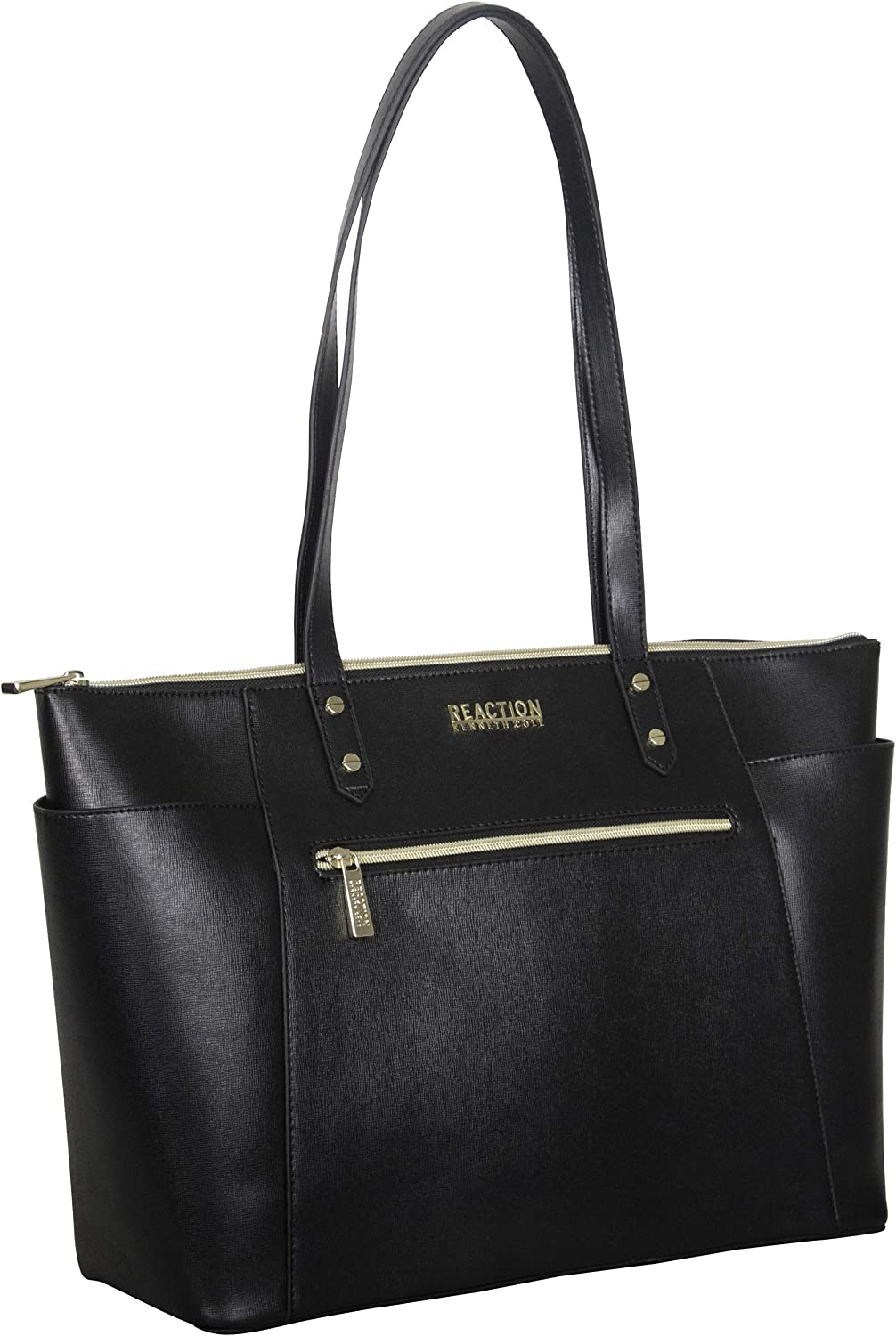 """Kenneth Cole Reaction Women's Downtown Darling Faux Leather 15"""" Top Zip Laptop Tote, Black"""