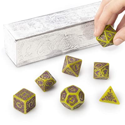 Titan Dice Achlys - 7 Giant Polyhedral Dice Set - 25mm Jumbo Dice - Green Color with Purple Amethyst Numbers - Premium Painted Wooden Carrying Box - Tabletop Roleplaying Fantasy RPG Gaming Accessories: Toys & Games